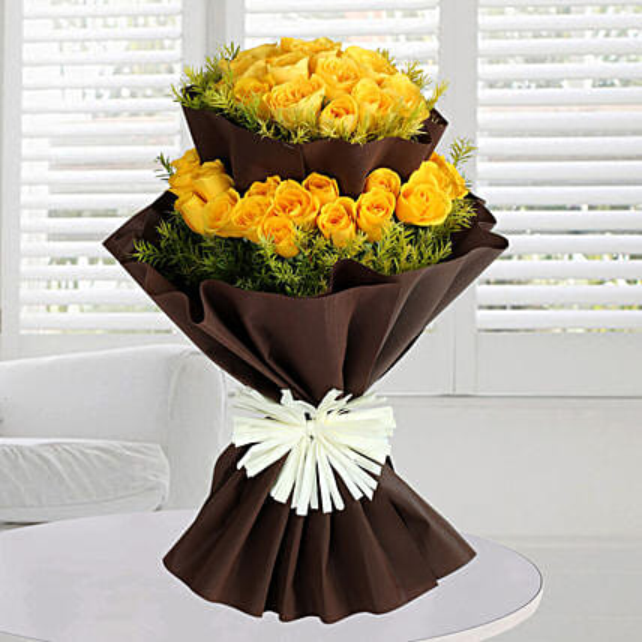 Bright Yellow Roses Bunch: Premium Flowers