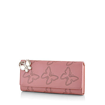 Butterflies Baby Pink Wallet: Handbags and Wallets