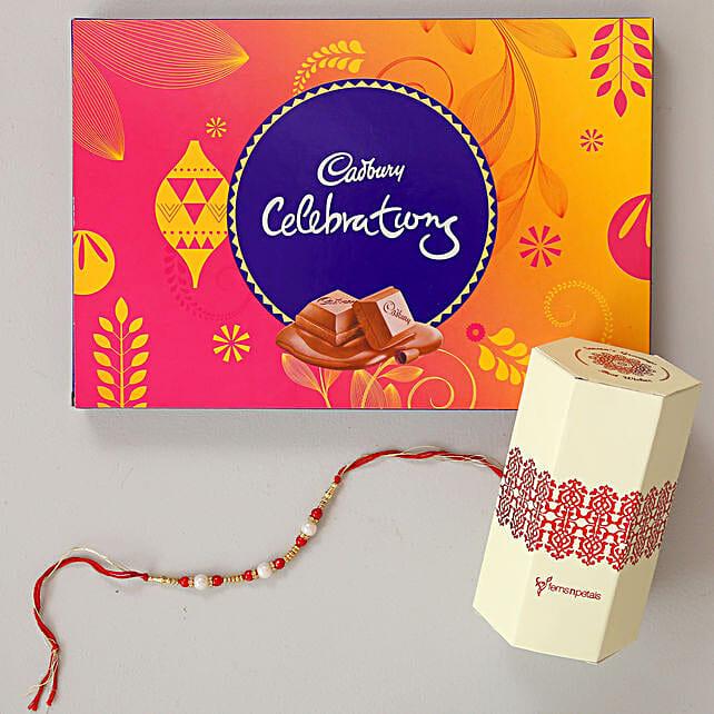 Cadbury Celebrations & Pearl Rakhi Combo: Send Rakhi Best Seller Gifts