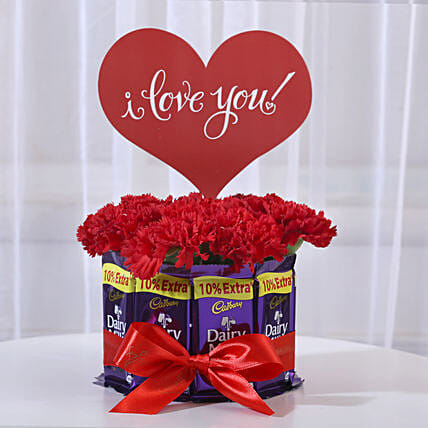 Carnations in Glass Vase & Dairy Milk Chocolate Bouquet: Chocolate Bouquet