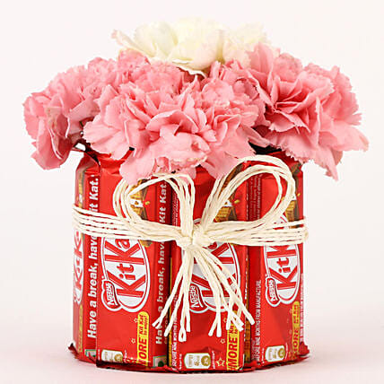 Carnations & Kit Kat Glass Arrangement: Chocolate Bouquet