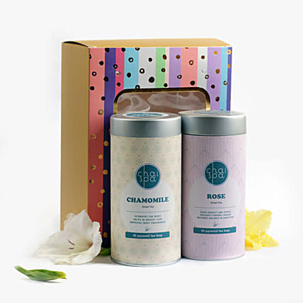 Chamomile & Rose Green Tea Paradise Combo: Send Gift Hampers