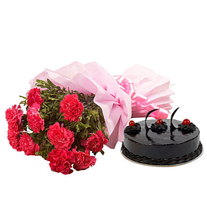 Chocolate Cake N Flowers Flower Bouquet With