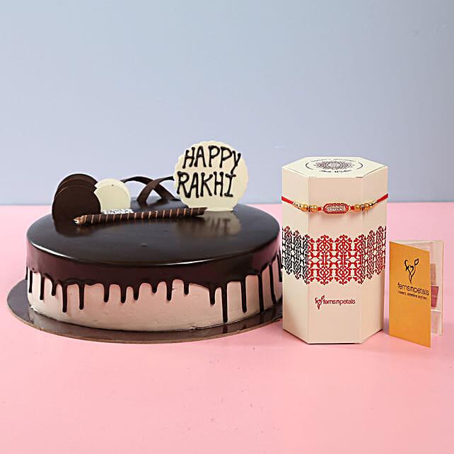 Chocolate Cake With Rakhi: Chocolate Cake