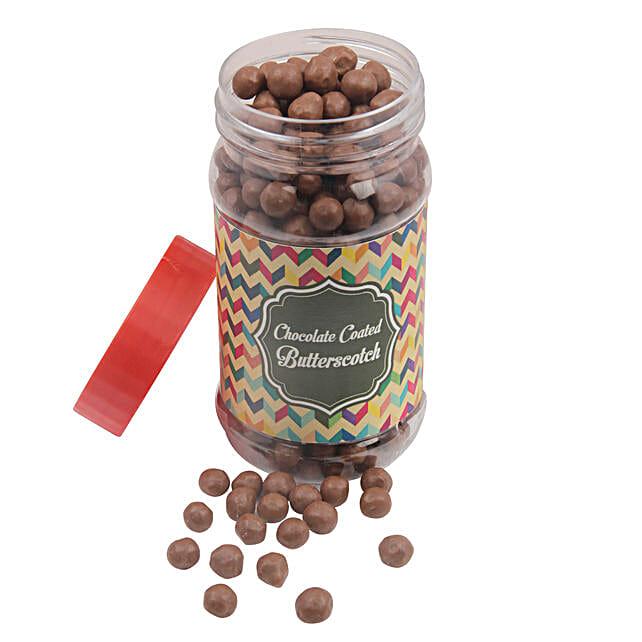 Chocolate Coated Butterscotch Jar: Send Holi Chocolates