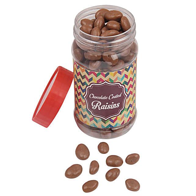 Chocolate Coated Raisin Jar: Send Holi Chocolates