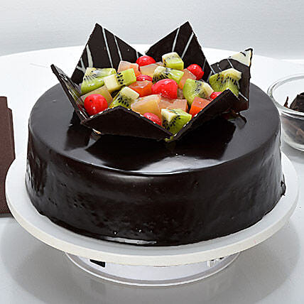 Chocolate Fruit Gateau: Eggless Cakes