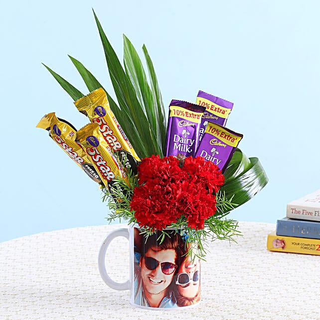 Chocolates & Carnations In Personalised Mug: Send Carnations