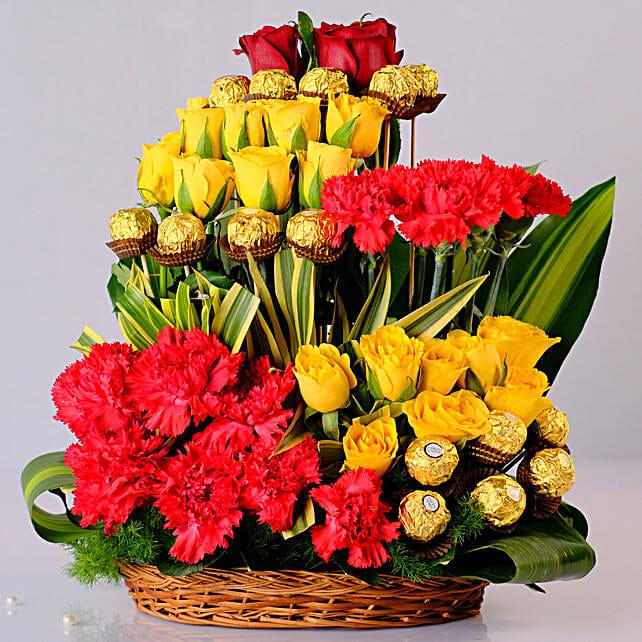 Mixed Flowers & Ferrero Rocher Arrangement: Send Chocolate Bouquet