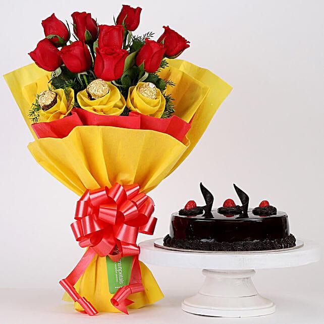 Chocolaty Red Roses & Truffle Cake Combo: Flowers & Cake Combos