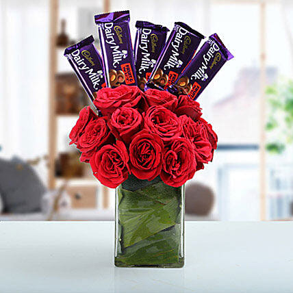 Classic Choco Flower Arrangement: Cadbury Chocolates