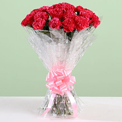 Crimson Pink Carnations Bouquet: Yellow Flowers