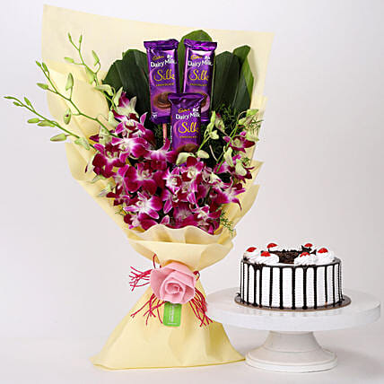 Dairy Milk & Orchids With Black Forest Cake: