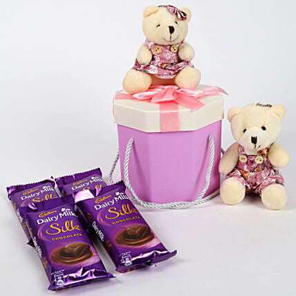 Dairy Milk Silk & Teddy Bear Gift Box: Chocolates Shopping India