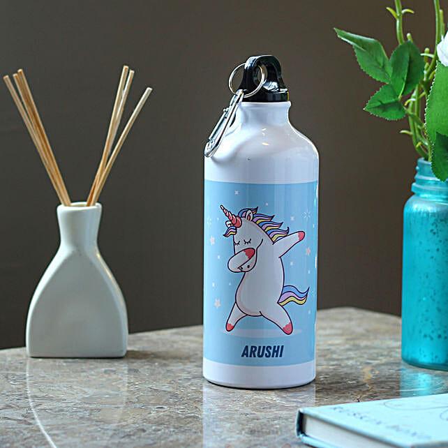 Dancing Unicorn Personalised Steel Bottle: Send Personalised Message Bottles
