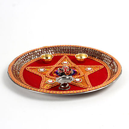 Decorative Steel Pooja Thali: Pooja Thali