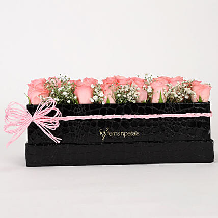 Delicate Pink Roses Box Arrangement: Flowers In box