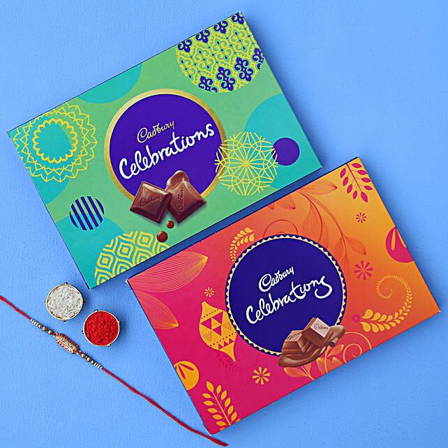 Designer Rakhi & Cadbury Celebration Boxes:
