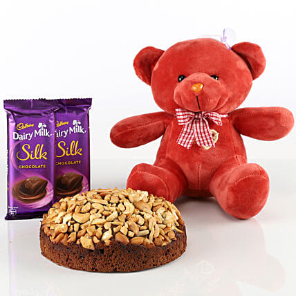 Dry Cake With Teddy Bear & Chocolates Combo: