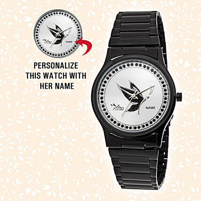Elegant Black Personalised Watch: