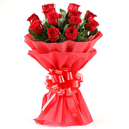 Emotions- Beautiful 12 Red Roses Bouquet: Gifts for Hug Day