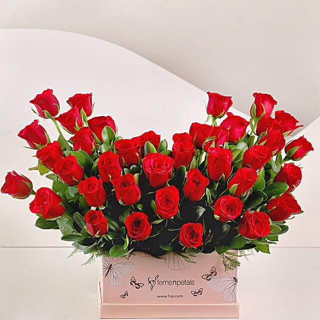 Ravishing 40 Red Roses Box Arrangement: Flowers In box