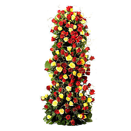 Endless Love- 100 Roses Floral Tower: Exotic Rose Arrangements
