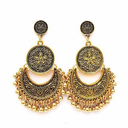 Ethnic Gold Ghungroo Earrings: Send Jewellery Gifts