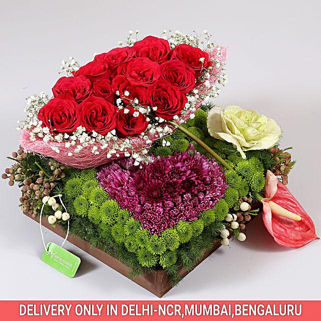 Exotic Flowers Tray Arrangement: Anthuriums