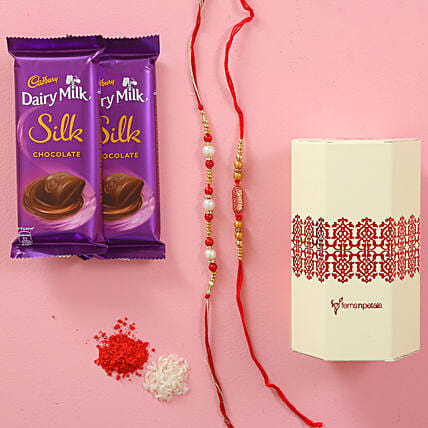 Fancy Rakhis & Cadbury Silk Combo: Rakhi With Cadbury Chocolates