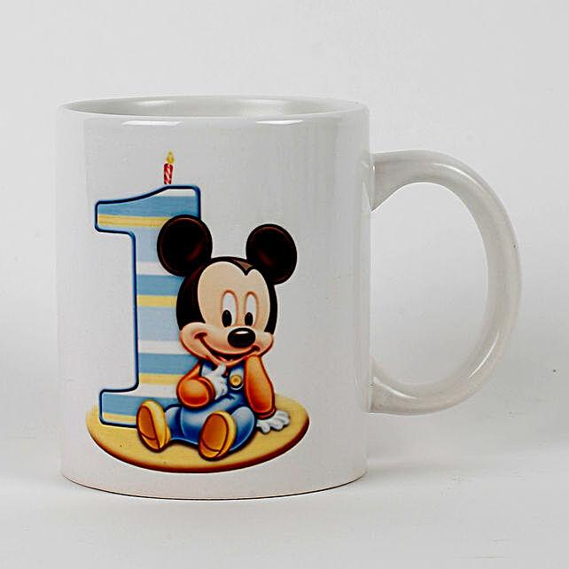 First Birthday Mickey Printed Mug: Coffee Mugs