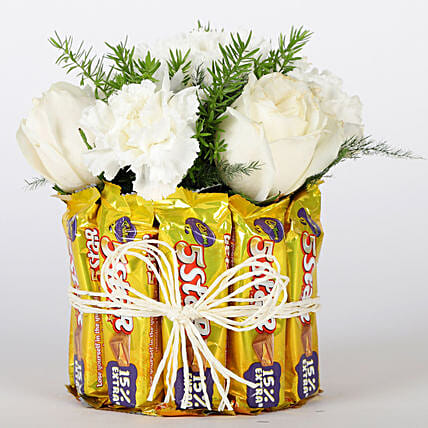 Five Star Floral Glass Vase Arrangement: