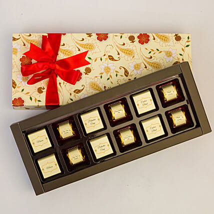 Floral Box Of Chocolates- 12 Pcs: Chocolate Gifts in India