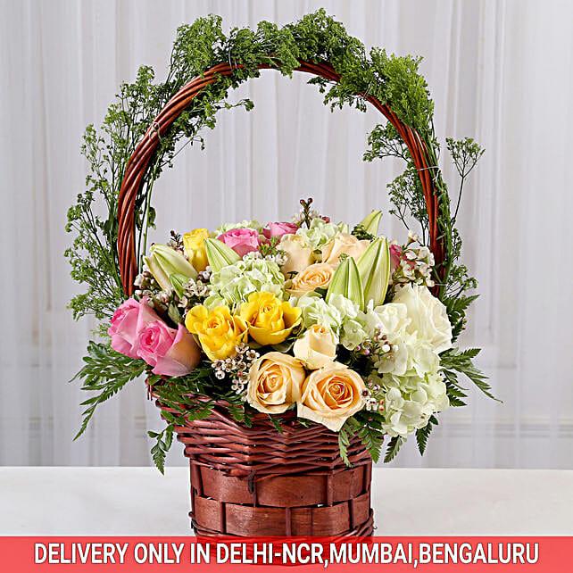 Floral Delight Basket Arrangement: Premium Flowers