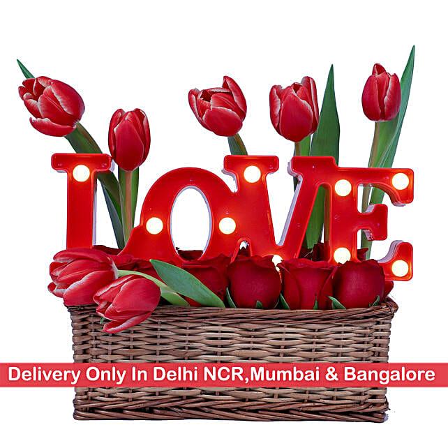 Floral Love Basket -Delhi NCR, Mumbai & Bangalore Only: Tulips