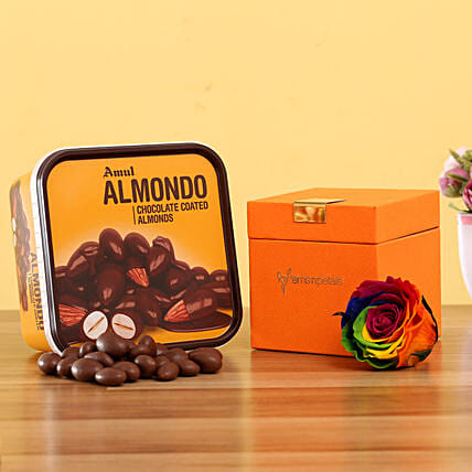 Forever Rainbow Rose & Amul Almondo: Gift Combos