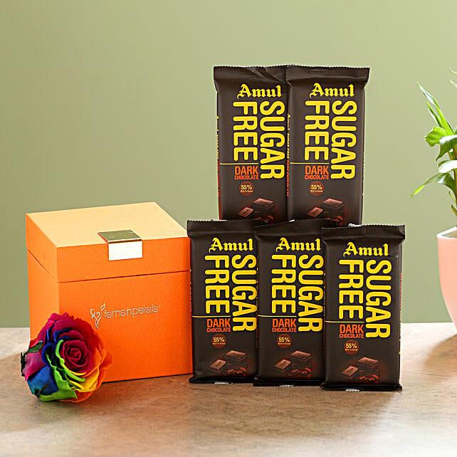 Forever Rainbow Rose & Sugar Free Amul Chocolates: