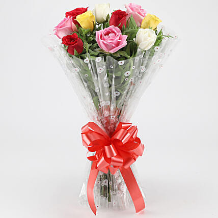 Fragrant Mixed Roses Bouquet: Send Hug Day Flowers