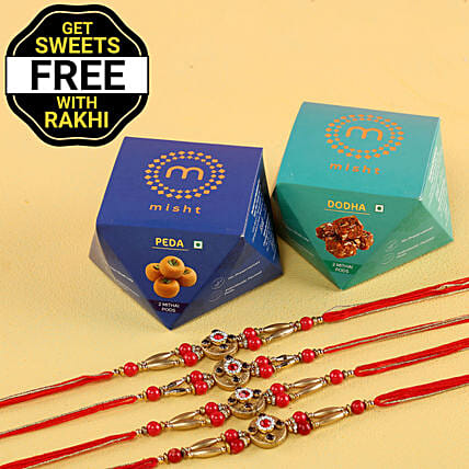 Free Sweet Boxes With Red Stone Rakhi Set: Combo Gifts
