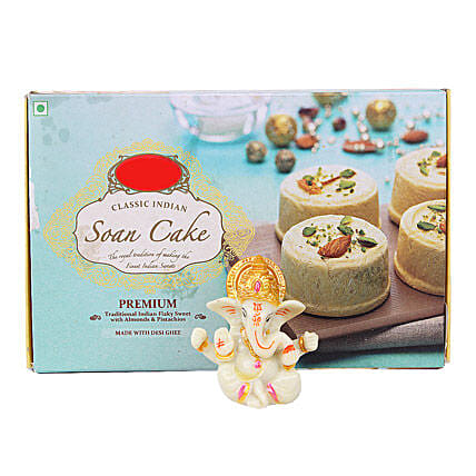 Ganesha Idol With Soan Cake: Send Handicraft Gifts for Diwali