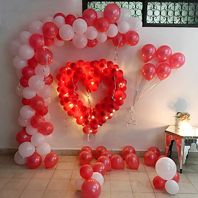Glowing Red & White Balloon Decor: Balloon Decoration Ideas