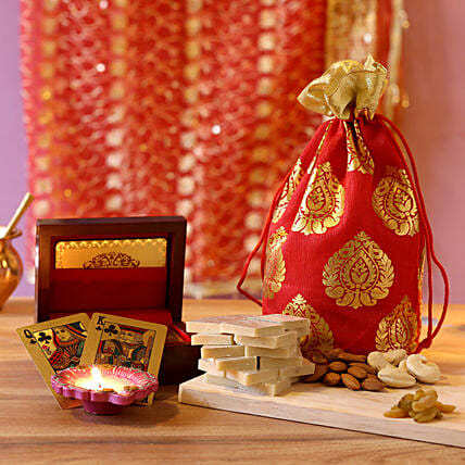 Gold Plated Playing Cards Festive Combo: Send Diyas