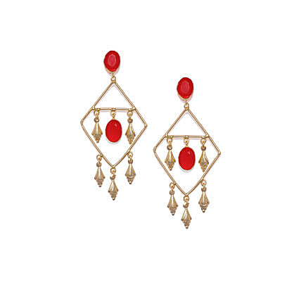 Gold Plated Red Drop Earrings: Jewellery Gifts