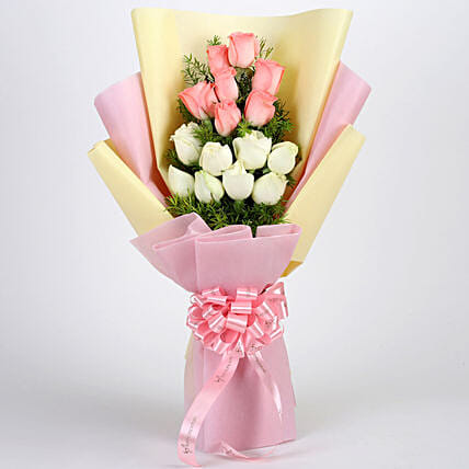 Graceful Pink & White Roses Bouquet: