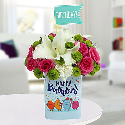 Happy Birthday Mixed Flowers Arrangement Sister