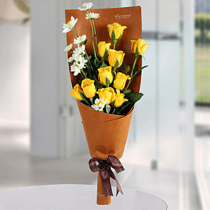 Happy Yellow Roses Bunch: Mixed Colour Flowers