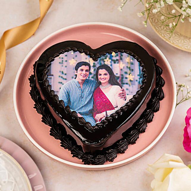 Heart Shaped Truffle Photo Cake: Send Heart Shaped Cakes