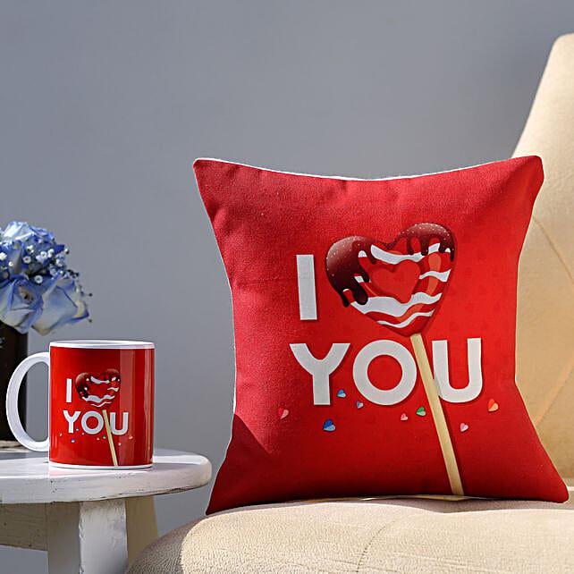I Love You Coffee Mug & Cushion Combo: