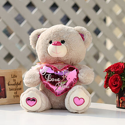 I Love You Teddy Bear With Pink Heart: Gifts for Teddy Day