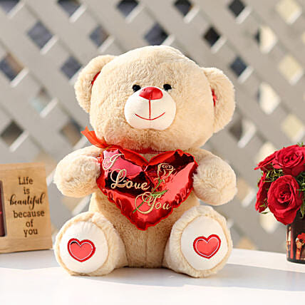 I Love You Teddy Bear With Red Heart: Valentines Day Soft toys